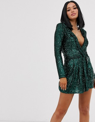 Lioness glitter plunge front ruffle mini dress in teal
