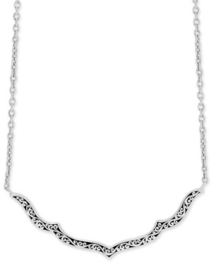 "Lois Hill Decorative Scroll 16"" Statement Necklace in Sterling Silver"