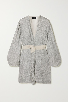 retrofete Gabrielle Velvet-trimmed Sequined Chiffon Mini Wrap Dress - Silver
