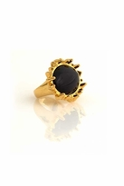 House Of Harlow Spike Oval Cabochon Cocktail Ring in Yellow Gold