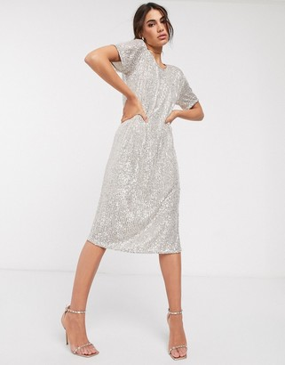 ASOS DESIGN sequin midi dress with open back in silver
