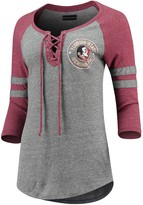New Era Women's 5th & Ocean by Heathered Gray/Garnet Florida State Seminoles Lace Up 3/4-Sleeve Tri-Blend T-Shirt