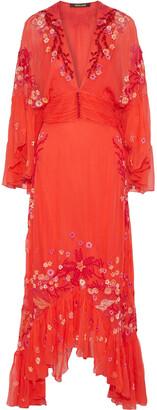 Roberto Cavalli Embellished Silk-georgette Maxi Dress