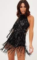 PrettyLittleThing Black Sequin Tassel Playsuit