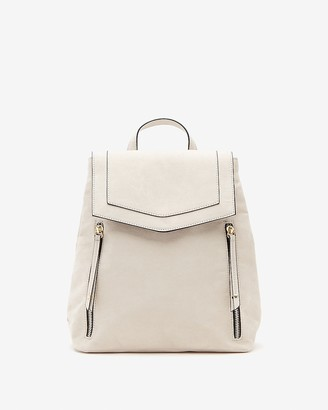 Express Double Zip Faux Leather Backpack
