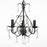 Gallery Wrought 3-Light Iron and Crystal Chandelier