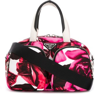 Prada floral multi-pockets tote bag