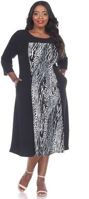 White Mark Plus Size Animal Print Midi Dress