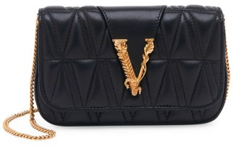 Versace Small Virtus Quilted Leather Clutch