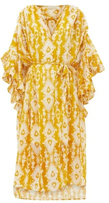 Mes Demoiselles Sybille Bell-sleeve Ikat-print Cotton-voile Dress - Womens - Yellow Print