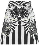 Just Cavalli Printed Stretch-Crepe Mini Skirt