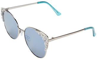 Sam Edelman Metal Cat-Eye with Floral Embossed Lens (Silver/Blue) Fashion Sunglasses