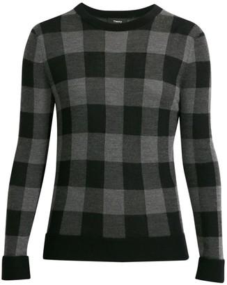 Theory Buffalo Check Crewneck Sweater