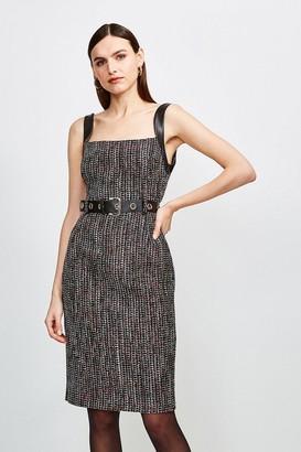 Karen Millen Tweed Eyelet Belted Dress