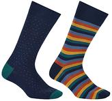 John Lewis Made In Italy Bold Stripe Birdseye Socks, Pack Of 2, Navy/multi