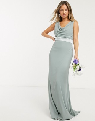 TFNC bridesmaid cowl neck bow back maxi dress in sage