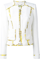 Versace printed trim jacket - women - Polyester/Spandex/Elastane - 44