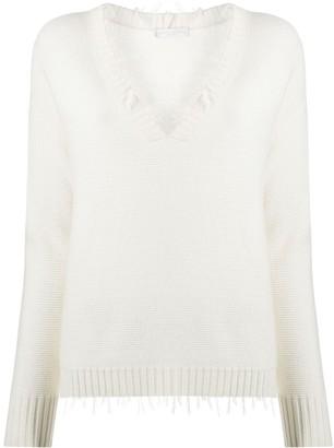 Fabiana Filippi V-neck frayed edge sweater