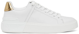 Balmain White and Gold B-Court Sneakers