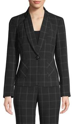 Kasper Windowpane Button-Front Blazer