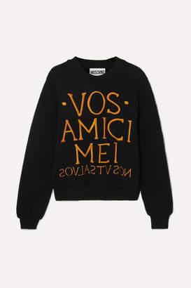 Moschino Embroidered Stretch-terry Sweatshirt - Black
