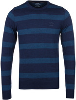 Paul & Shark Knitted Teal Stripe Crew Neck Sweater