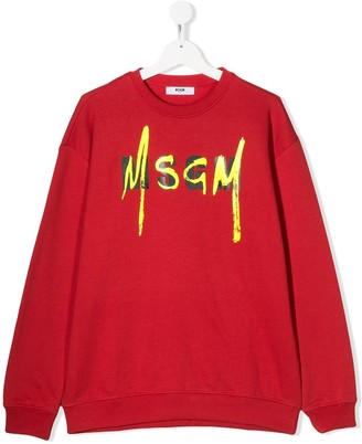 MSGM Kids TEEN logo print cotton sweatshirt