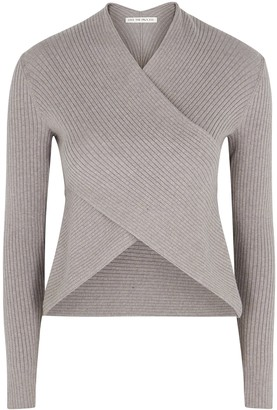Live The Process Grey ribbed-knit wrap jumper