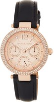 MICHAEL Michael Kors 33mm Mini Parker Glitz Chronograph Watch w/ Leather Strap, Pink