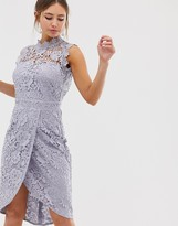 Paper Dolls lace wrap midi pencil dress in oyster grey