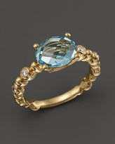 Michael Aram 18K Yellow Gold Single Row Molten Ring with Blue Topaz & Diamond Accents