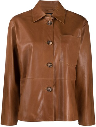 Arma Button-Front Leather Jacket