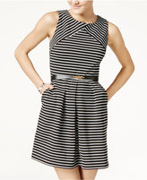 Amy Byer Juniors' Striped Dress with Belt