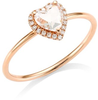 Ef Collection 14K Rose Gold, White Topaz & Diamond Heart Stacking Ring