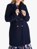 Yumi Teddy Bear Fur Double Breasted Coat, Navy