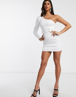 Asos Design DESIGN one shoulder long sleeve belted mini dress-White