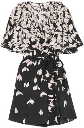 Valentino Ruffled Floral-print Silk Crepe De Chine Mini Wrap Dress