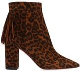 Aquazzura Leopard Print Fringed Detail Ankle Boots