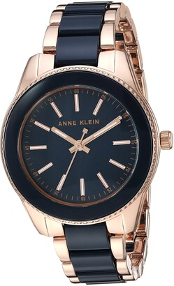 Anne Klein Women's AK/3214BKGB Gold-Tone and Black Resin Bracelet Watch