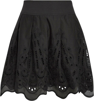Alberta Ferretti Cotton Eyelet Mini Skirt
