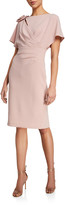 Rickie Freeman For Teri Jon Wing-Sleeve Shirred Dress w/ Asymmetric 3D Flower Shoulder