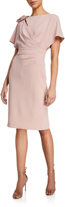 Rickie Freeman For Teri Jon Wing-Sleeve Shirred Dress w/ Asymmetric 3D Flower Shoulder