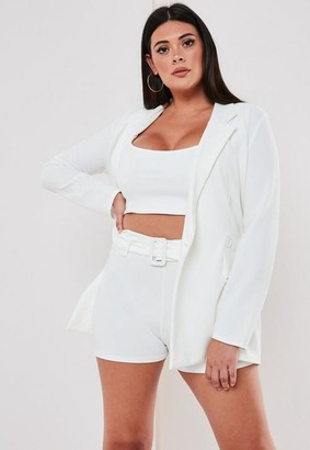 Missguided Size White Co Ord Self Fabric Belt Shorts