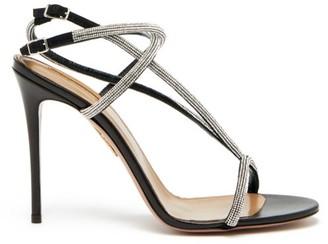 Aquazzura Moondust 105 Crystal-strap Leather Sandals - Womens - Black Silver