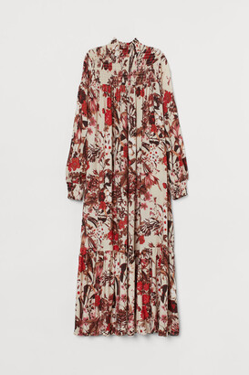 H&M Dress with Stand-up Collar - Beige