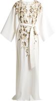 Oscar de la Renta Embroidered lamé silk-crepe gown
