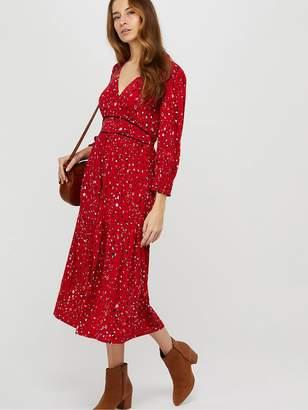 Monsoon Star Print Midi Dress - Red