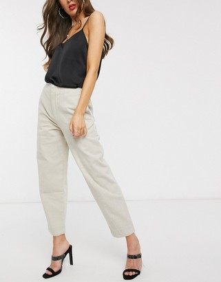 ASOS DESIGN premium slim balloon tapered jeans with seam detail in sand