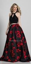 Dave and Johnny Rhinestone Encrusted Two Piece Floral Print Ball Gown