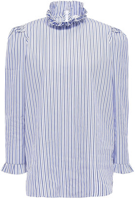 Sandro Ruffle-trimmed Cotton-poplin Blouse
